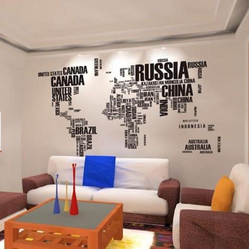 Stenska nalepka v obliki zemljevida sveta