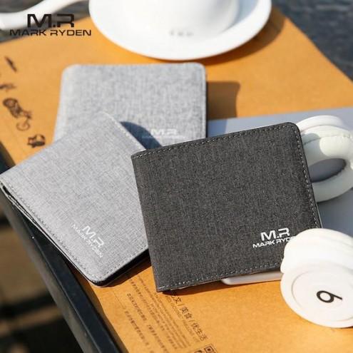 Modna moška denarnica - kombinacija usnja in blaga